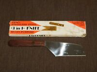 "VINTAGE KITCHEN 1976 9"" LONG STAINLESS STEEL 3 in 1 ROSE WOOD HANDLE KNIFE NEW"