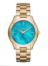 Michael Kors Ladies Slim Runway Gold Tone Turquoise Blue Dial Watch MK3492