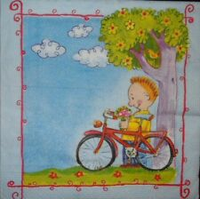4 X SINGLE PAPER NAPKINS  PARTY- fairy tale,BICYCLE  -DECOUPAGE  CRAFTING-14