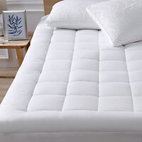 Mattress Topper Bed Pad Cover Pillow Top Soft Breathable Hypoallergenic Cotton