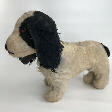 Antique Stuffed Toy Dog Black White Glass Eye 8.5� Primitive Early 19th c