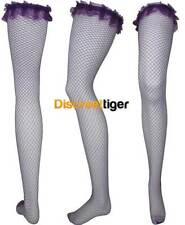 Womens Sexy Purple Fishnet stockings Stay Up Thigh Length With Elastic And Lace