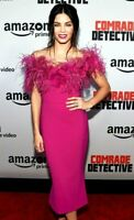 $2,995 Marchesa Feather Off the Shoulder Pink Midi Cocktail Dress IT 40 / US 4