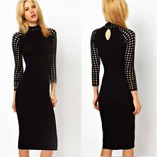 Sexy Hollow Out High Neck Cinched Waist Women Evening Party Bodycon Pencil Dress
