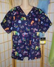 Blue Cat Kitty Hearts Scrub Top~L XL~Pockets~Uniform~Animals~Vet~Med~Cotton