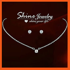 9K WHITE GOLD GF S54 1CT SINGLE DIAMOND SIMULATED NECKLACE EARRINGS WEDDING SETS