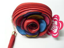 Porte monnaie fleur rouge