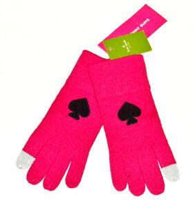 Kate Spade Womens OS Begonia Bloom Gloves Black Logo Tech Friendly Pink
