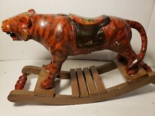 Antique Rocking Horse Carved Wood Tiger