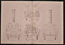 Impresión de la locomotora 1855 John V Cooch's Motor Serpiente enlace movimiento seccional Caja de fuego