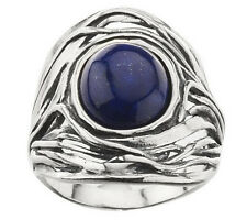Or Paz Sculpted Sterling Silver Oval Blue Lapis Cabochon Ring Size 5 QVC