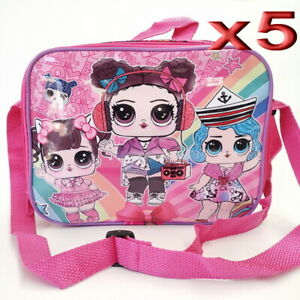 5pc Wholesale Kids Girls LOL Picnic School Insulated Lunch Bags