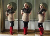 Handmade knitted mohair sweater tunic beige mohair fluffy collar knitted sweater