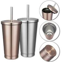 500ml Stainless Steel Mug Portable Home Tumbler Coffee Ice Cup + Drinking Straw