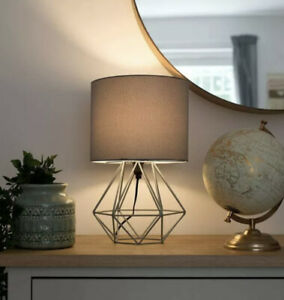Minisun Angus Bedside Reading Light Geometric Table Lamp with Grey Shade 40cm