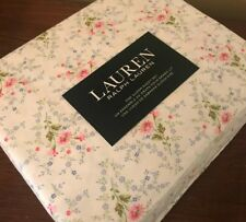Ralph Lauren Queen Sheet Set Pink Rose Floral Cottage Shabby Chic Blue Green