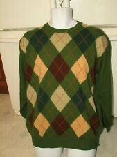United Colors of Benetton men's argyle sweater light weight wool Large Mint