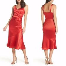 NEW Chelsea28 RED Satin RUCHED Side COCKTAIL MIDI DRESS M L