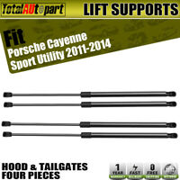 4 Hood+Tailgate Lift Support Struts Spring Prop for Porsche Cayenne Front & Rear