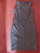 Ladies Next Size 10 Sleeveless Dress in Navy and White Stripes