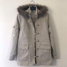 Cabi Women's Faux Fur Hooded Parka Khaki Jacket S