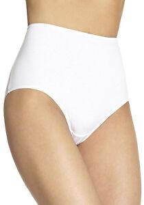 Ladies High Leg Knickers Full Briefs Pure Cotton White10 12 14 16 18 20