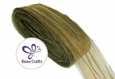 Olive Chiffon ribbon with shimmer thread for millinery and craft 40mm wide