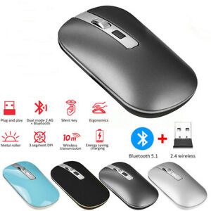 Bluetooth Rechargeable Dual Mode Wireless LED Mouse for PC Laptop Slim Silent