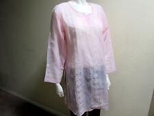 New India Chikan 100% Cotton Ethnic Kurta Kurti Collar White on Pink Ladies Top