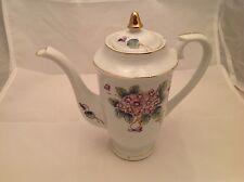 "Pretty Porcelain Tea Pot Japan 8"" Tall W/ purple and Green Flowers"