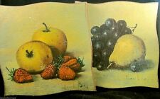MIDCENTURY Set of 2 Handpainted Fruit WOOD Plaques Asymmetrical Signed