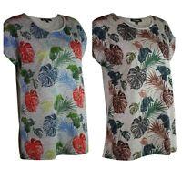 Womens Ladies Bon Marche Grey or Beige Floral Palm Print Cap Sleeve Top Tee