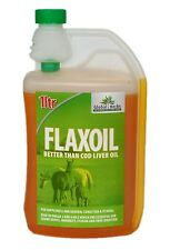 GLOBAL HERBS FLAX OIL 1L Pack Horse Supplement 1Ltr Cold Pressed Bottle