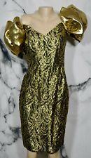 A.J. BARI Vintage Gold Patterned Dress 10 Puffy Shoulder Sleeves Lined Cocktail