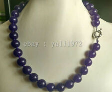 10MM AAA natural purple jade Beads necklace 18inch LL001