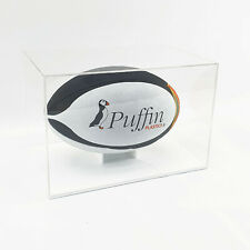 More details for perspex rugby ball display case - white base (mirror back)