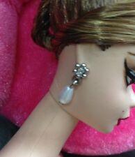 Audrey Hepburn Sabrina Silkstone Barbie Doll Silver Flower Pearl Dangle Earrings