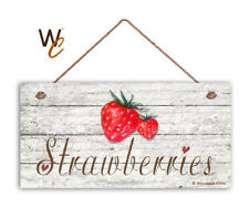 "Strawberries Sign, Rustic Style Garden Sign,  5"" x 10"" Wood Fruit Kitchen Sign"