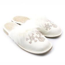 Warme Hausschuhe Wolle Echt Leder Pantoffel  Gr. 36-41 (3-4083)