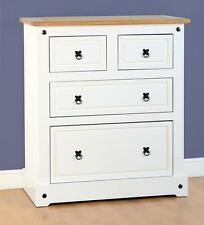 Seconique Corona White & Distressed Waxed Pine 2 2 Drawer Chest