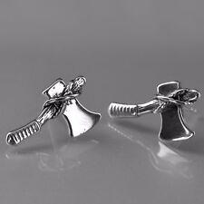 silver earrings axe 316L stainless steel stud fashion attitude jewellery