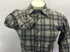 Vtg Pendleton Mens Gray Plaid Long Sleeve Shirt sz M 100% Virgin Wool