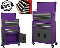 NEW Sealey 6 Drawer Ball Bearing Roller Cabinet Tool Chest Purple Matt Grey 2pc