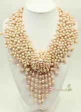 "N14112403 9""-10"" pink FW pearl flower statement necklace earrings set"