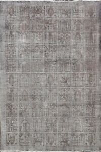 Antique Over-dyed Geometric Distressed Tebriz Wool Area Rug Evenly Worn 6x9 ft
