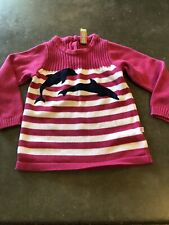 Girls Sophie & Sams Pink Striped Dolphin Sweater Sz 4T