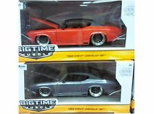 Pack of 2 Chevy Chevelle SS 1969 Diecast Car 1:24 Jada Toys 8 inch Silver Orange