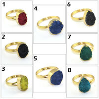 Season Sale ! Unique Natural Agate Druzy 24k Gold Plated Adjustable Ring Jewelry
