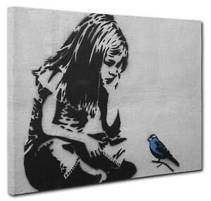 Banksy Blue Bird Girl Canvas Print Wall Art CANVAS PICTURE PRINT Large & Small