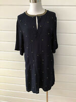 SASS & BIDE Beyond Infinity Navy Blue With Gold Spots Mini Dress - Size 12